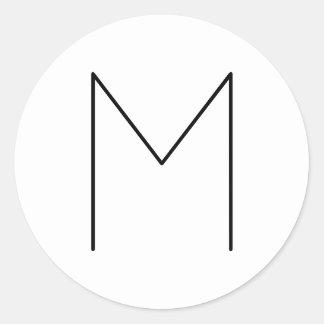 Blanco y negro minimalista moderno simple pegatina redonda