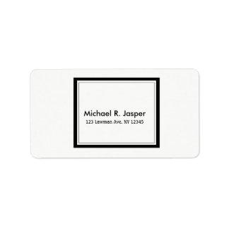 Blanco y negro minimalista simplista etiquetas de dirección