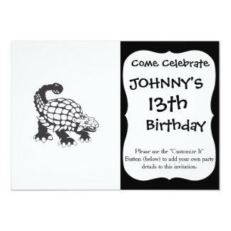 Blanco y negro prehistórico del dinosaurio del invitación 12,7 x 17,8 cm