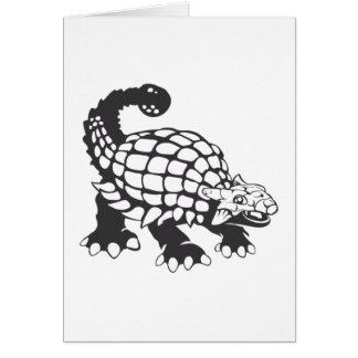 Blanco y negro prehistórico del dinosaurio del tarjeta de felicitación
