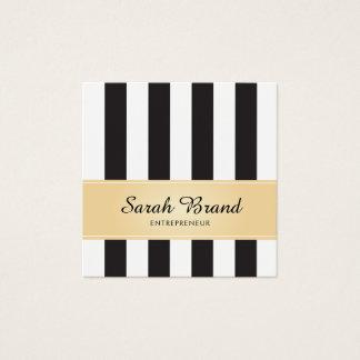 Blanco y negro rayado con falso oro tarjeta de visita cuadrada