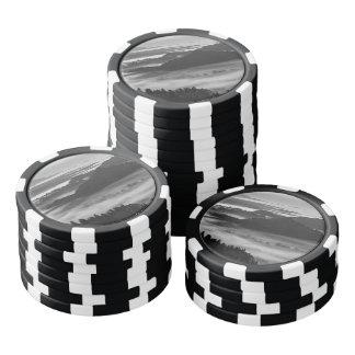 Blanco y negro sangrado juego de fichas de póquer