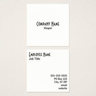 Blanco y negro simple tarjeta de visita cuadrada