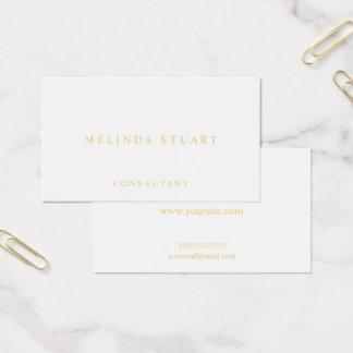 Blanco y oro elegantes tarjeta de visita