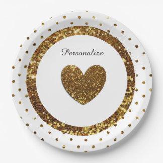 Blanco y placas de papel personalizadas brillo del plato de papel