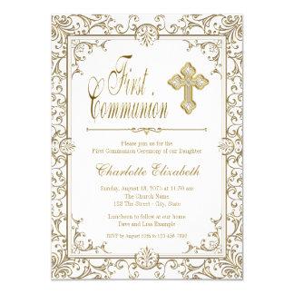 Blanco y primeras invitaciones de la comunión del invitación 11,4 x 15,8 cm