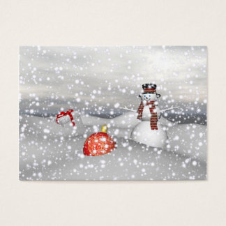 blanco y regalo del muñeco de nieve tarjeta de visita