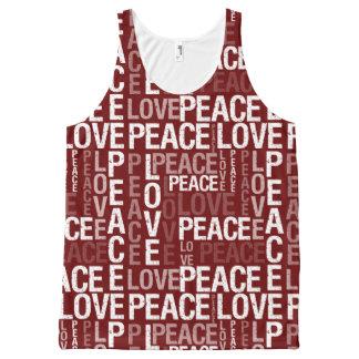Blanco y rojo de la tipografía de la paz y del camiseta de tirantes con estampado integral