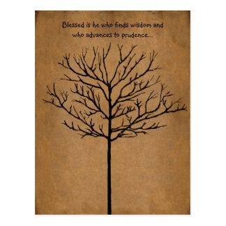 Blessed es él que busca la sabiduría un árbol de postal