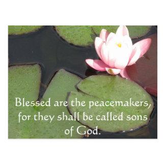 Blessed es los pacificadores, porque ...... postal