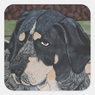 Bleu el perro de caza colcomanias cuadradases