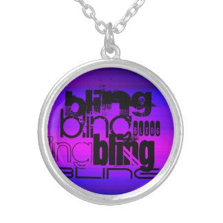 Bling; Azul violeta y magenta vibrantes Colgante Redondo