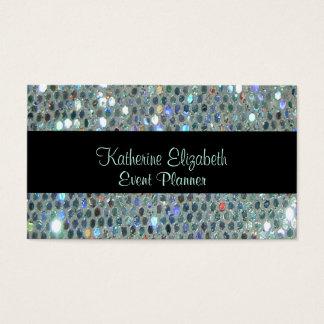 Bling de plata glamoroso reluciente brillante tarjeta de visita