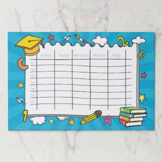 Bloc De Hojas Calendario lindo de la escuela de Kawaii