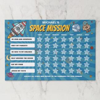 Bloc De Hojas Carta del comportamiento de la misión espacial por