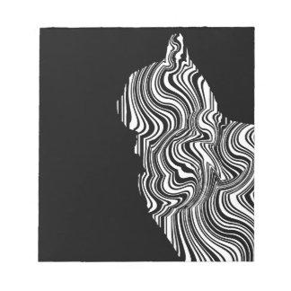 Bloc De Notas Abstract Black and White Cat Swirl Monochroom