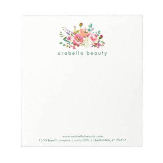 Bloc De Notas Acuarela de moda floral con el nombre comercial