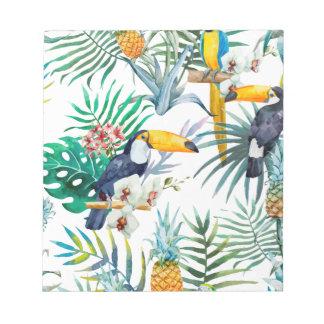 Bloc De Notas Acuarela tropical del pájaro del loro de la piña
