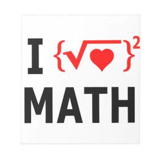 Bloc De Notas Amo blanco de la matemáticas