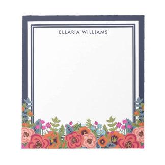 Bloc De Notas Arreglo floral de Boho - azules marinos y blanco -