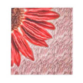 Bloc De Notas Bosquejo rojo del girasol