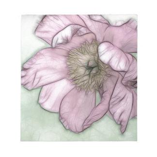 Bloc De Notas Bosquejo rosado de la flor del Peony