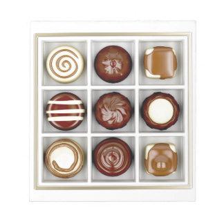 Bloc De Notas Caja con los caramelos de chocolate