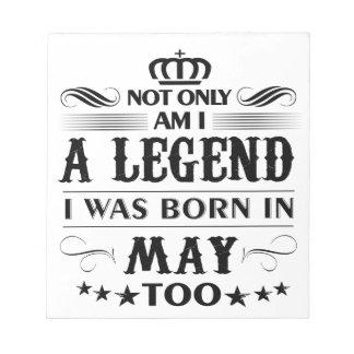 Bloc De Notas Camisetas de las leyendas del mes de mayo