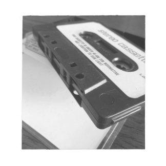 Bloc De Notas Cinta de casete audio del vintage en la tabla de