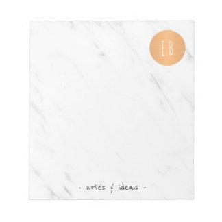 Bloc De Notas Círculo de cobre con monograma de mármol blanco