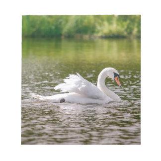 Bloc De Notas Cisne blanco en un lago
