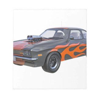 Bloc De Notas coche del músculo de los años 70 en llamas
