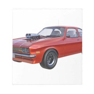 Bloc De Notas coche del músculo de los años 70 en rojo