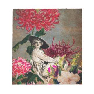 Bloc De Notas Collage de la flor de la mujer del vintage