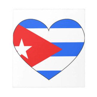Bloc De Notas Corazón de la bandera de Cuba