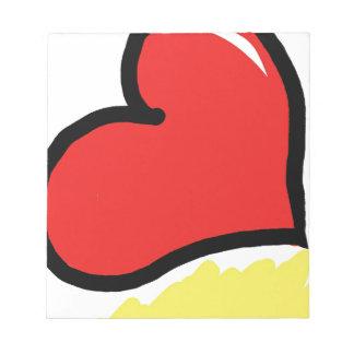 Bloc De Notas corazón feliz rojo