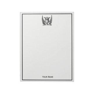 Bloc De Notas Corazón heráldico con el escudo del escudo de