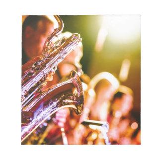 Bloc De Notas Cuernos de los saxofones de los instrumentos