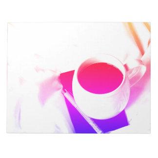 Bloc De Notas Desayuno del té del arco iris en taza de café de