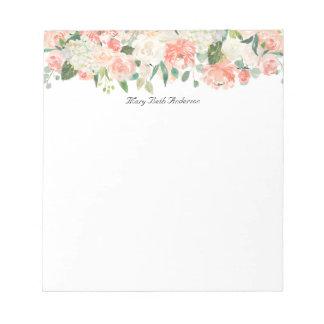 Bloc De Notas Estampado de flores femenino del melocotón con su