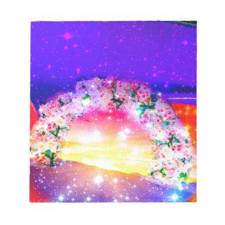 Bloc De Notas Estrellas y arco iris de flores en la celebración