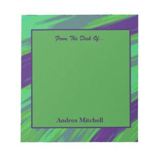Bloc De Notas Extracto moderno del chasquido del verde azul