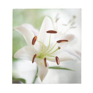 Bloc De Notas Flor del lirio blanco completamente abierta