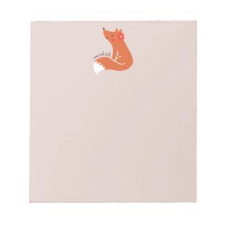Bloc De Notas Fox lindo con la flor