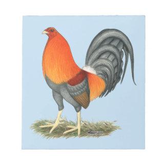 Bloc De Notas Gallo del rojo azul del gallo de pelea