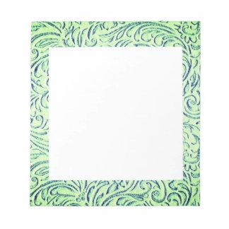 Bloc De Notas Gráfico floral de Scrollwork de la verde lima