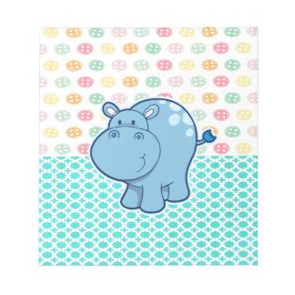Bloc De Notas Hipopótamo de los azules cielos en fondo colorido