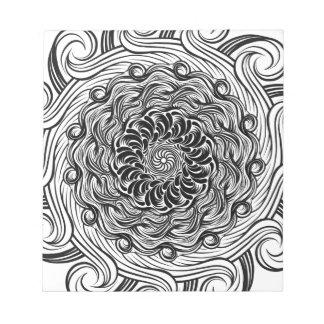 Bloc De Notas Ilusión óptica del Doodle adornado del zen blanco