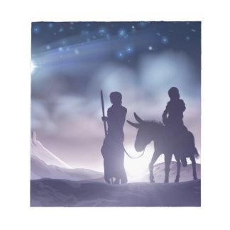 Bloc De Notas Ilustracion Maria y José del navidad de la