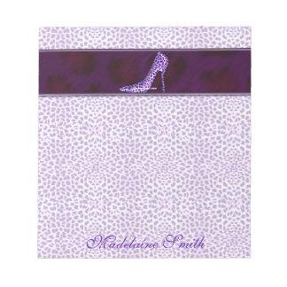 Bloc De Notas Impresión púrpura del guepardo con su nombre